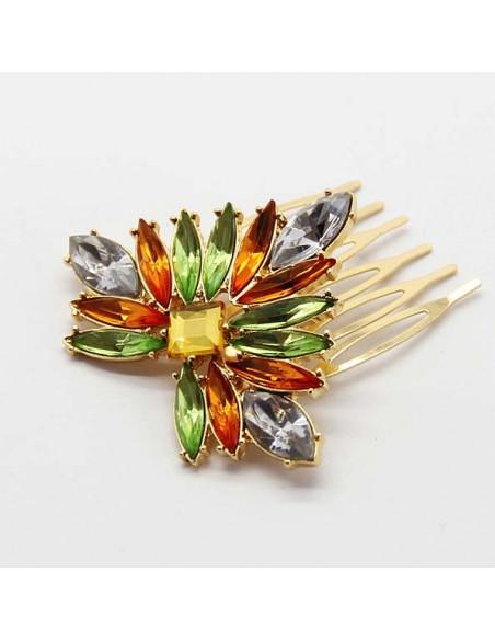 Piepteni decorativi pentru par aurii cu cristale multicolore