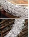 Agrafa decorativa pentru par, semiluna argintie cu cristale albe