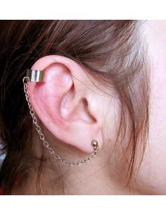 Cercel tip ear cuff, model cu biluta si lantisor simplu, prindere pe ureche