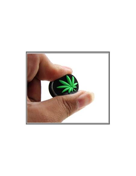 Flesh Tunnel negru din silicon moale, cu frunza marijuana 3D