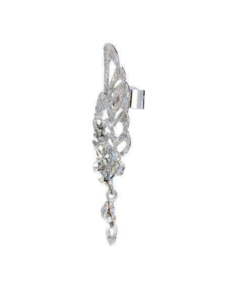 Cercel tip ear cuff, model aripa argintie cu cristale