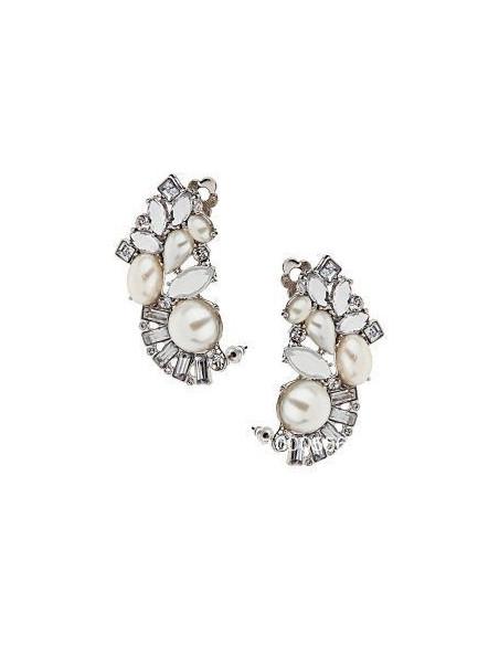 Cercel tip ear cuff, model argintiu cu perle si cristale albe