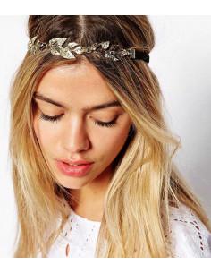 Bentita hippie, bentita boho chic cu frunze aurii si cristale