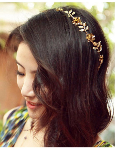 Bentita hippie, bentita boho chic cu flori si frunze aurii