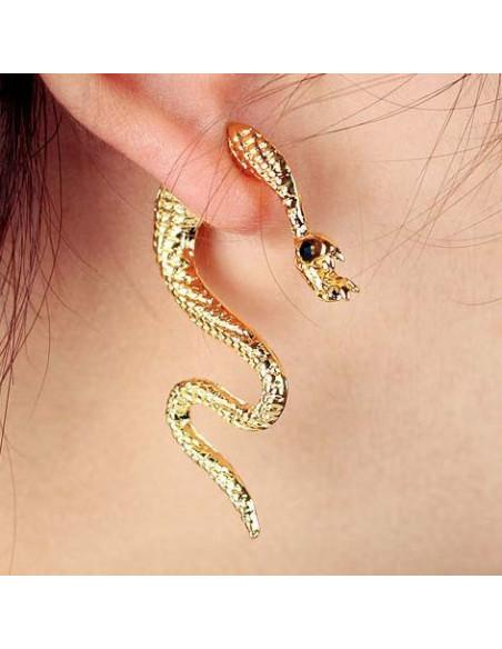 Cercel tip ear cuff, sarpe auriu cu ochi negri care trece prin ureche