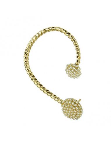 Cercel ear cuff fashion auriu rasucit, cu perle