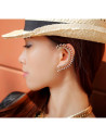 Cercel tip ear cuff, pe toata urechea, auriu cu cristale