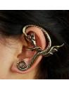 Cercel tip ear cuff, dragon cu coada incolacita si aripi mici