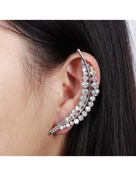 Cercel ear cuff, model statement cu cristale albe Fern Leaf