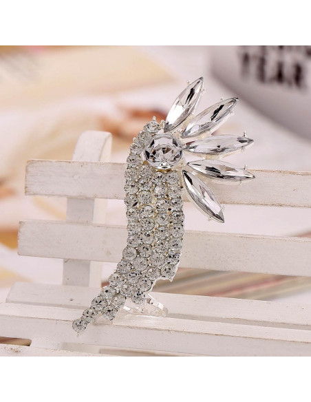 Cercel tip ear cuff, Bird of Paradise argintiu