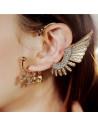 Cercel ear cuff, model Valkyrie cu o aripa mare si cranii