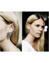 Cercel tip ear cuff, model Flash cu cristale si perle