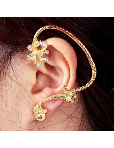 Cercel ear cuff fashion auriu, cu fluture si flori