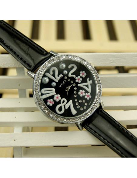 Ceas elegant, negru, cu cadran mare decorat cu cristale si elemente florale
