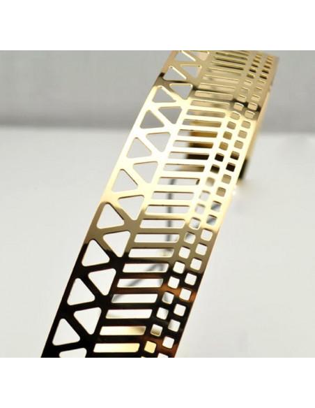 Curea metalica aurie lata, cu model geometric decupat