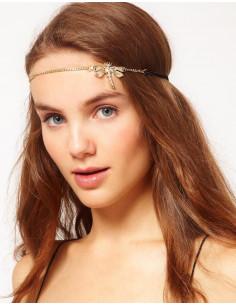Bentita pentru frunte, model cu libelula aurie si lantisor delicat, bentita boho chic, bentita vintage