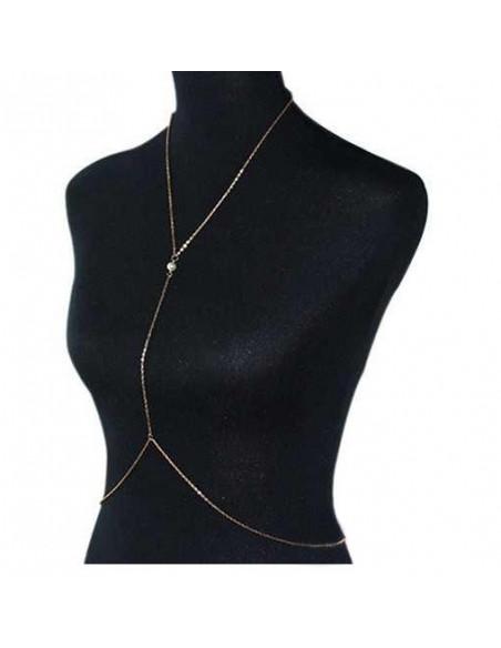 Lant pentru corp auriu cu o perla mica la piept