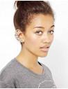 Cercel tip ear cuff, pe toata urechea, auriu cu cristale semiluna
