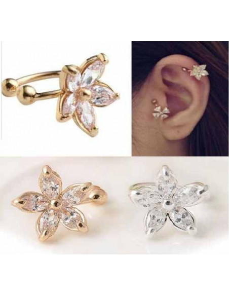 Cercel tip ear cuff, floricica micuta cu cinci cristale
