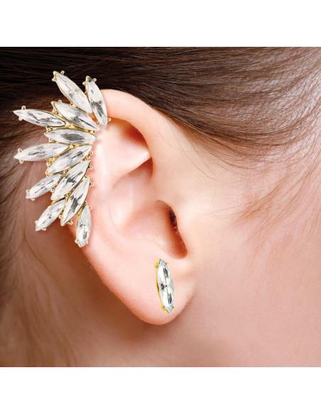 Cercel tip ear cuff, model Crystal stud cu 12 cristale