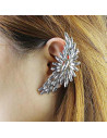Cercel tip ear cuff, model Statement ear cuff cu cristale mari