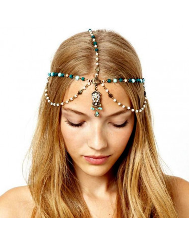 Bentita pentru par cu margele verzi, perle si medalion pe frunte