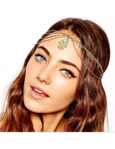 Bentita pentru par Hamsa cu lantisoare si medalion pe frunte
