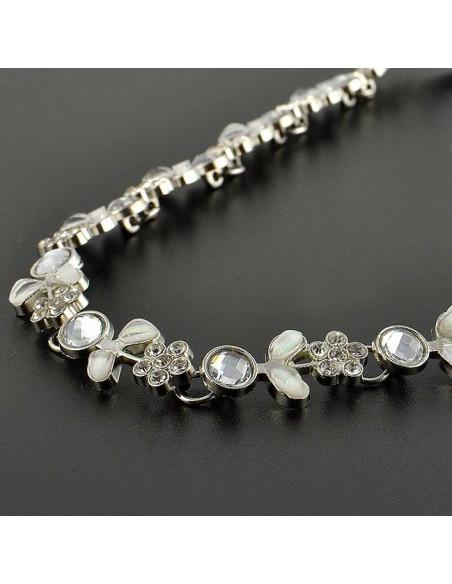 Bentita hippie, bentita boho chic cu flori argintii si cristale