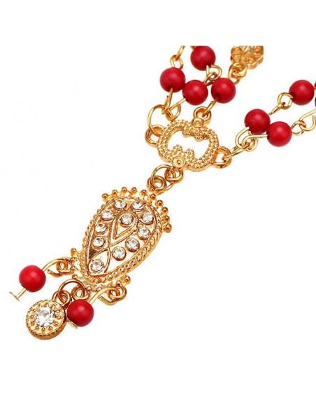 Bentita hippie, bentita boho chic aurie cu margelute rosii si medalion