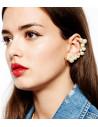 Cercel statement tip ear cuff, auriu cu perle mari albe