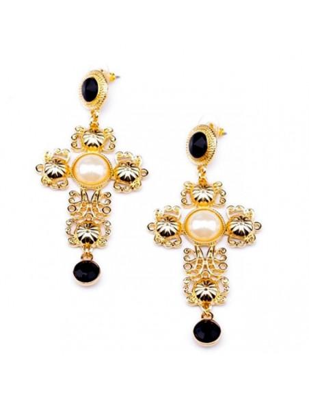 Cercei statement, cruci mari aurii cu perle si cristale