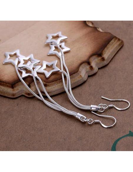 Cercei placati cu argint, model cu stelute