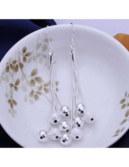 Cercei din argint model cu lantisoare si bilute