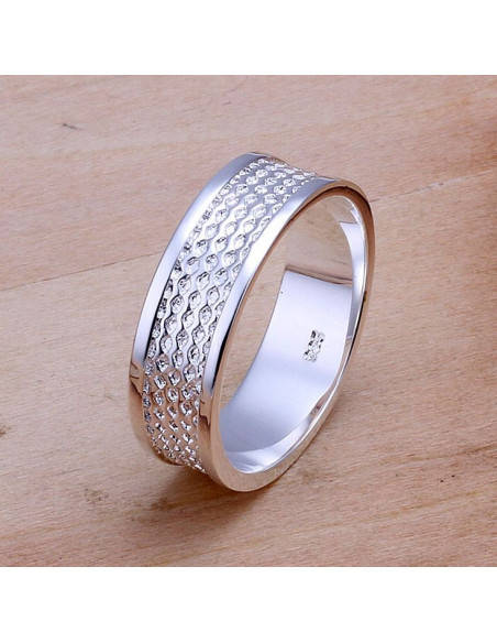 Inel elegant, din argint, tip verigheta cu model plasa