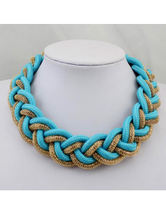 Colier statement impletit, turcoaz cu auriu, Blue Braid