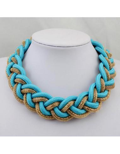 Colier statement impletit, turcoaz cu auriu, Blue Braid