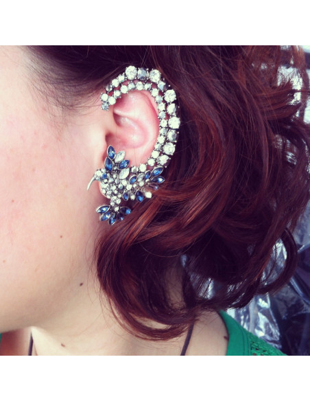Cercel ear cuff, model blue bird of paradise