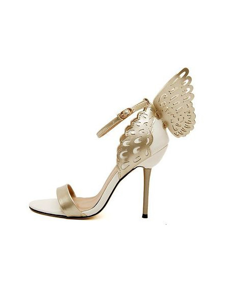 Sandale inalte albe cu fluture auriu perforat pe calcai