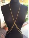 Lant pentru corp auriu, lung, model cu inel si lant dublu in talie