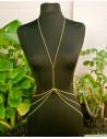 Lant pentru corp auriu, lung, model cu lant triplu in talie