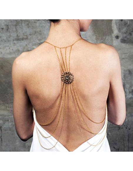 Lant pentru corp auriu, lung, cu floare mare la spate