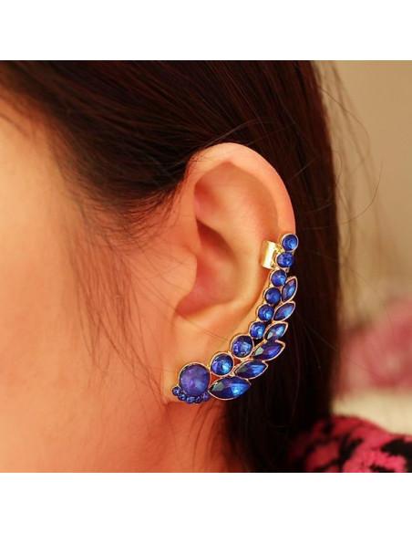 Cercel tip ear cuff, model auriu cu cristale albastre