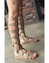 Sandale gladiator cu talpa dreapta si curele late