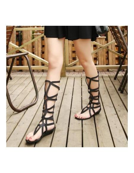 Sandale gladiator cu toc jos