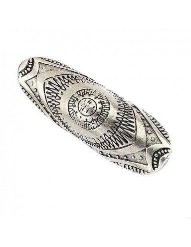 Inel lat, pe tot degetul, argintiu cu motive mayase
