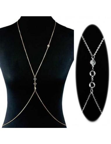 Lant pentru corp argintiu cu 4 cristale rotunde