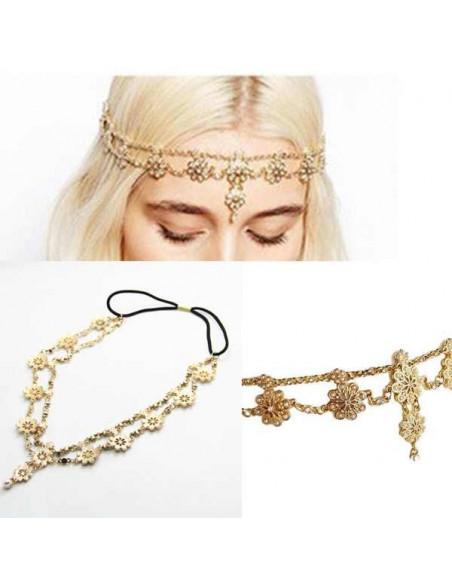 Bentita pentru par model statement cu flori, perle si cristale