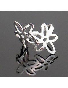 Inel argintiu micut si delicat, model cu doua floricele mici