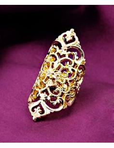 Inel lat, pe tot degetul, auriu cu motive florale