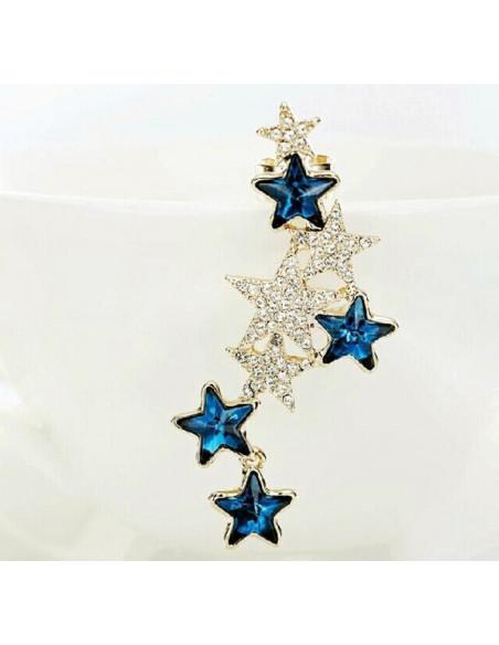 Cercel ear cuff stelute albastre cu cristale